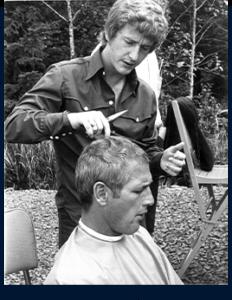 Photo of JM cutting Paul Newmans